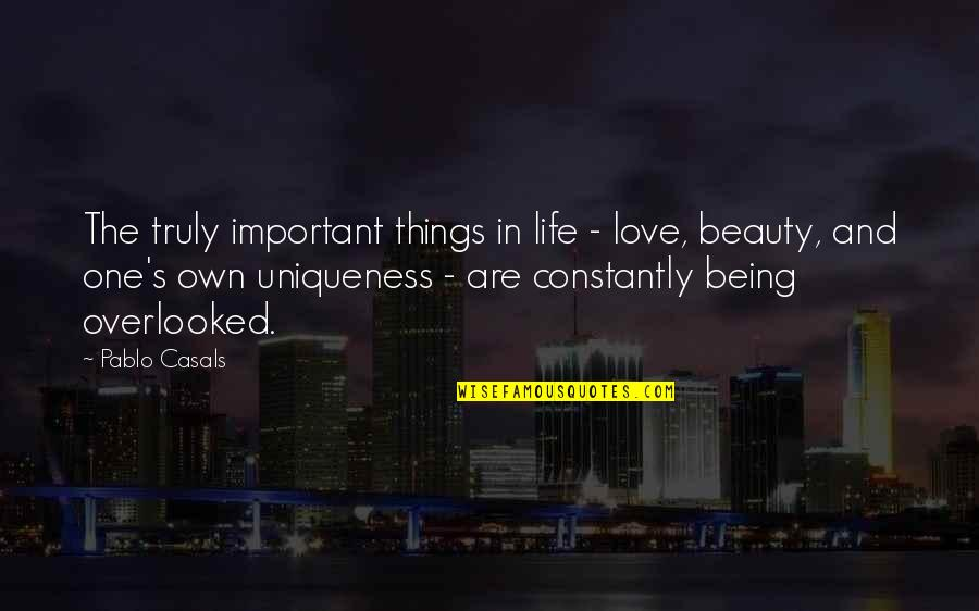 Beauty Love And Life Quotes By Pablo Casals: The truly important things in life - love,