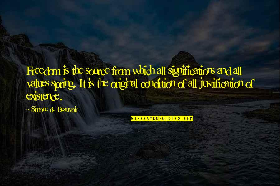 Beauvoir's Quotes By Simone De Beauvoir: Freedom is the source from which all significations