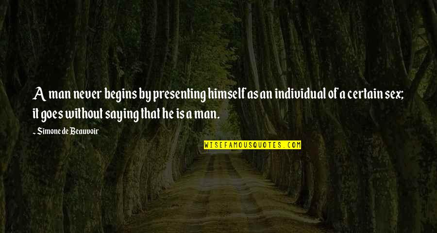 Beauvoir's Quotes By Simone De Beauvoir: A man never begins by presenting himself as