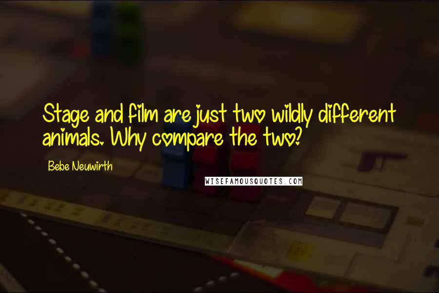 Bebe Neuwirth quotes: Stage and film are just two wildly different animals. Why compare the two?