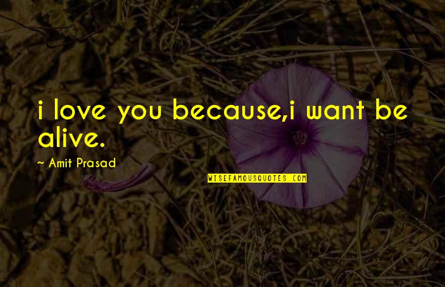 Because I Love You Quotes By Amit Prasad: i love you because,i want be alive.
