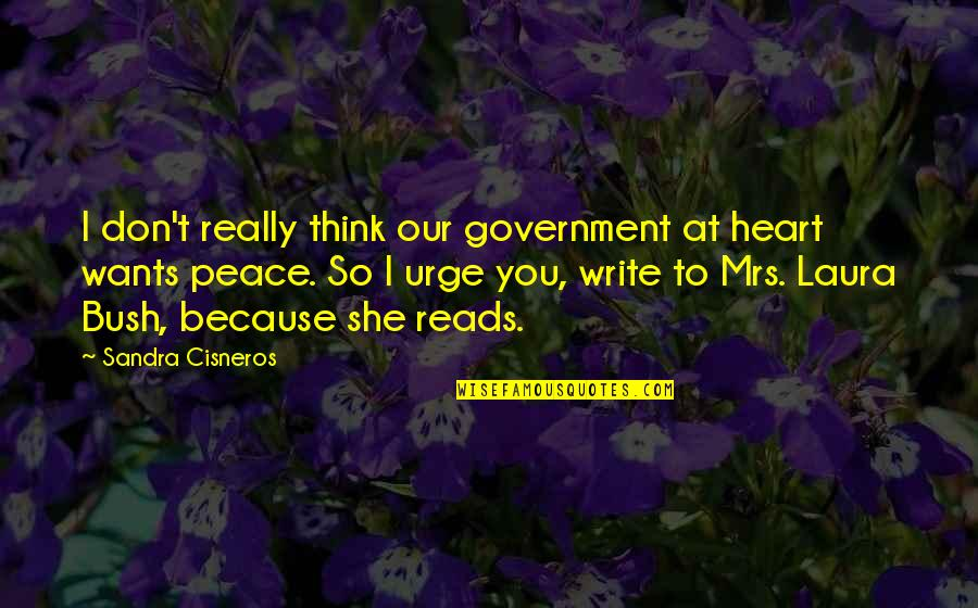 Because She Quotes By Sandra Cisneros: I don't really think our government at heart