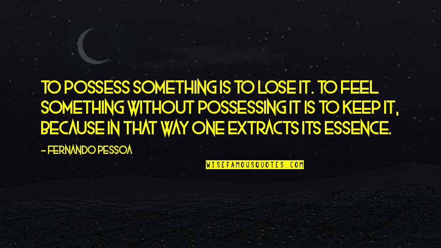 Because Without Love Quotes By Fernando Pessoa: To possess something is to lose it. To