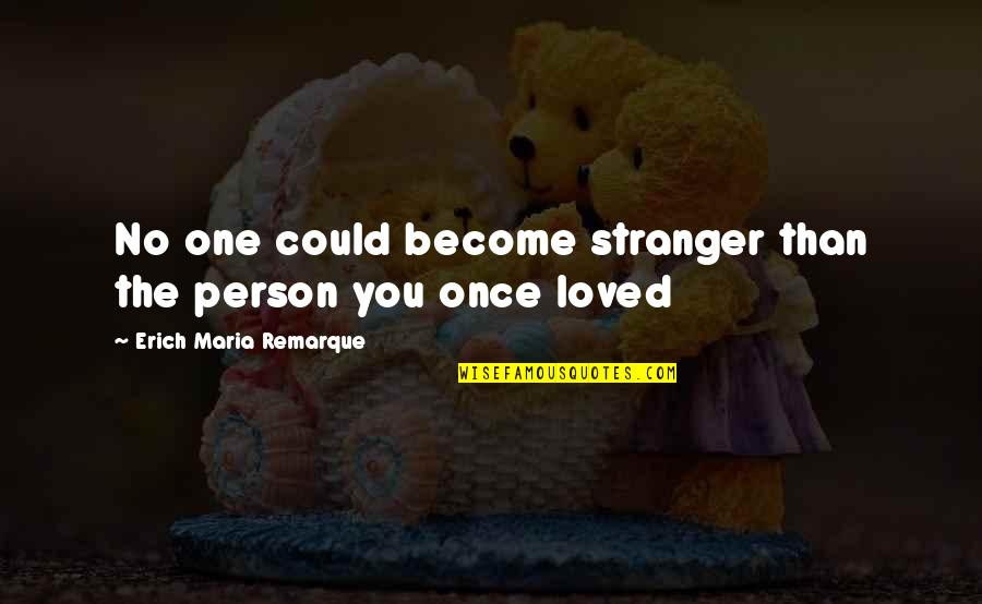 Become Stranger Quotes By Erich Maria Remarque: No one could become stranger than the person