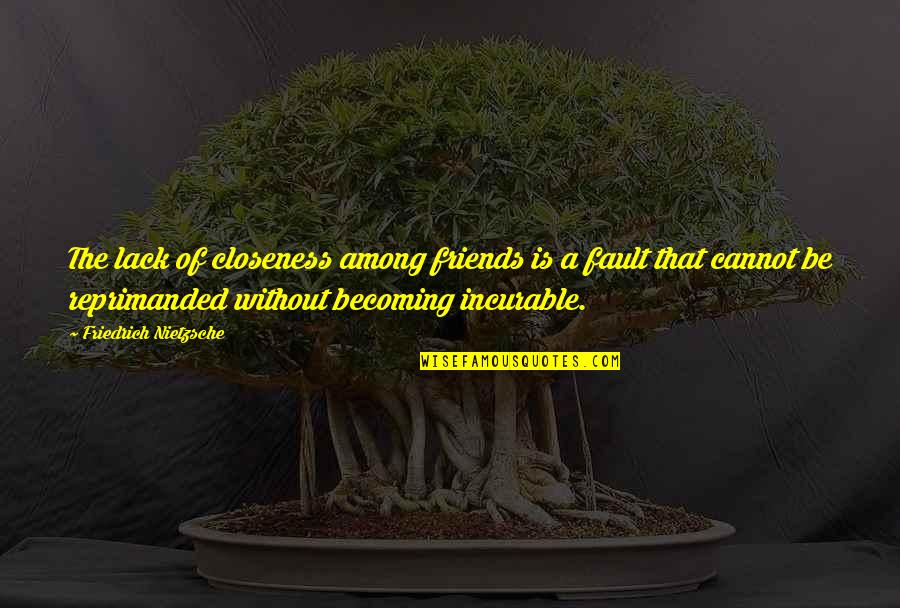 Becoming Best Friends Quotes By Friedrich Nietzsche: The lack of closeness among friends is a