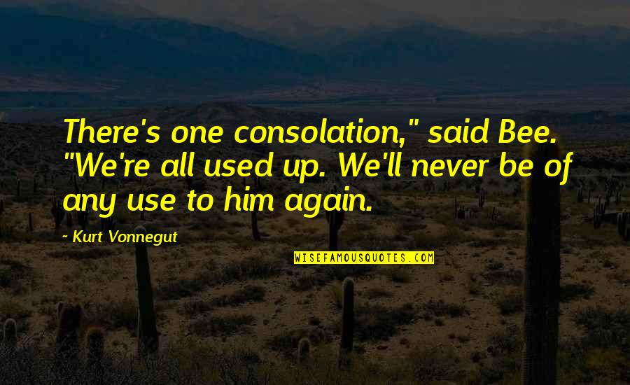 """Bee Quotes By Kurt Vonnegut: There's one consolation,"""" said Bee. """"We're all used"""