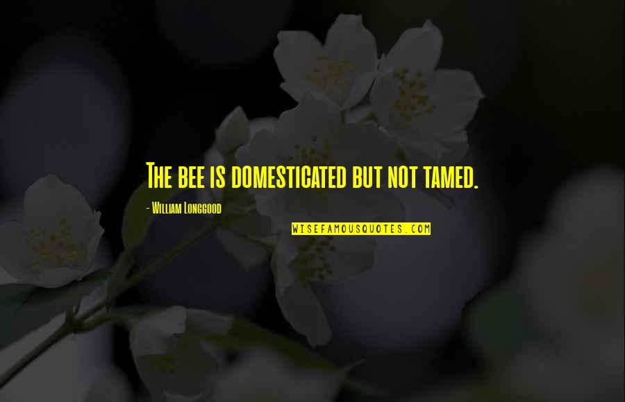 Bee Quotes By William Longgood: The bee is domesticated but not tamed.