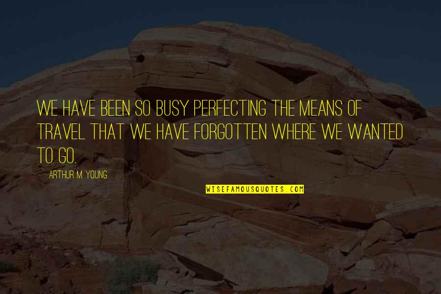 Been Busy Quotes By Arthur M. Young: We have been so busy perfecting the means