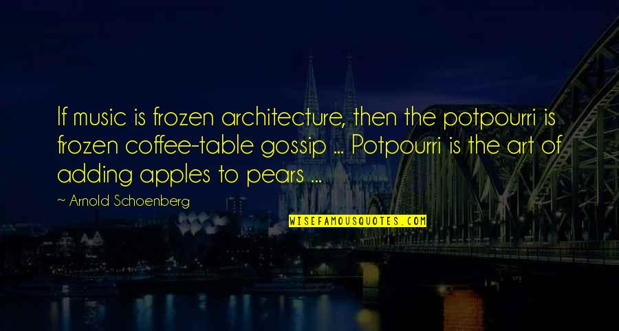 Before Bed Love Quotes By Arnold Schoenberg: If music is frozen architecture, then the potpourri