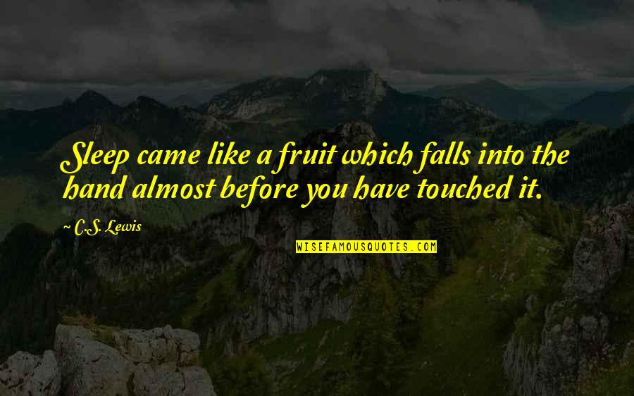 Before You Sleep Quotes By C.S. Lewis: Sleep came like a fruit which falls into