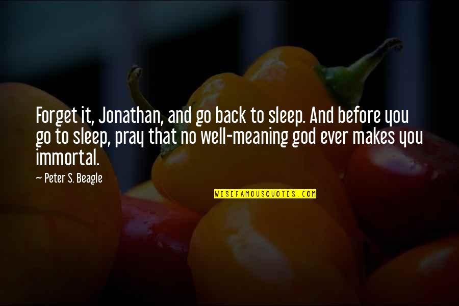 Before You Sleep Quotes By Peter S. Beagle: Forget it, Jonathan, and go back to sleep.