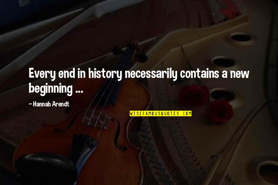 Beginning Of A New End Quotes By Hannah Arendt: Every end in history necessarily contains a new