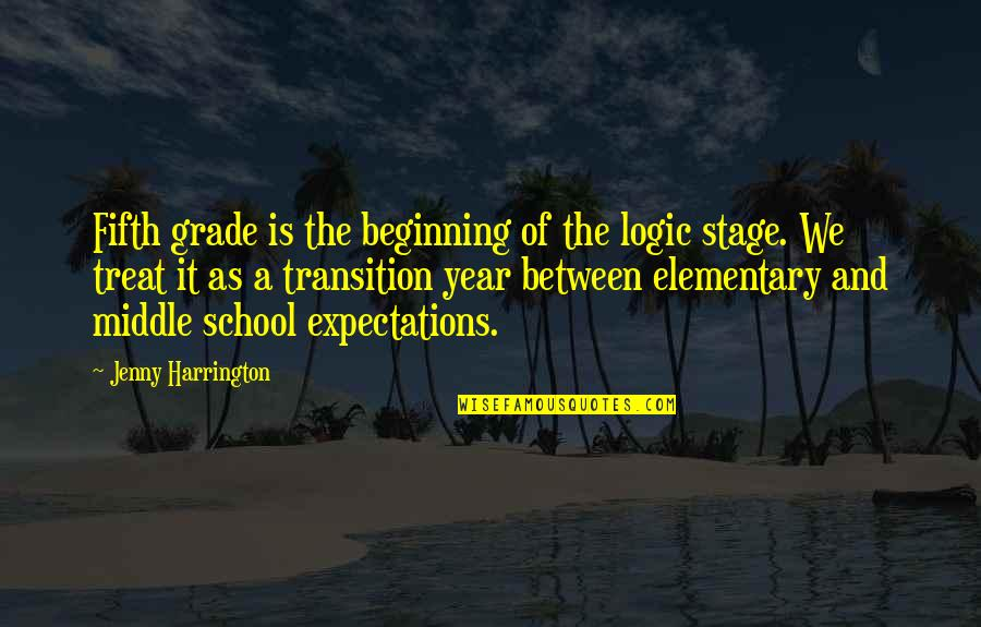 Beginning The School Year Quotes By Jenny Harrington: Fifth grade is the beginning of the logic
