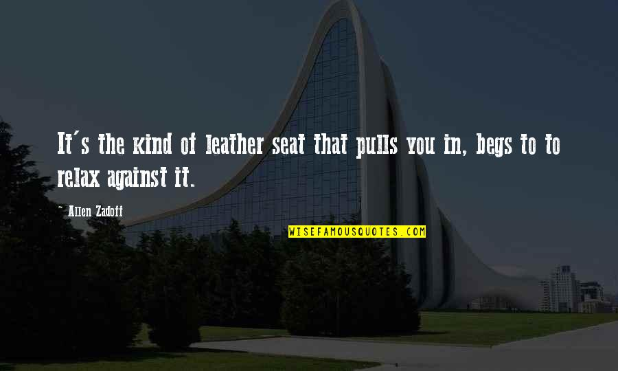 Begs Quotes By Allen Zadoff: It's the kind of leather seat that pulls