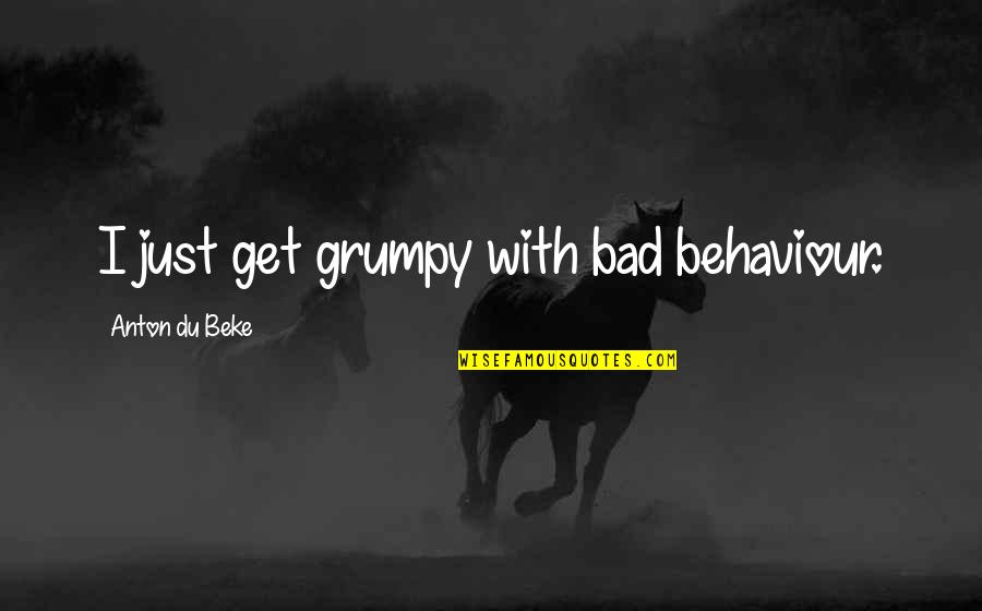 Behaviour Quotes By Anton Du Beke: I just get grumpy with bad behaviour.