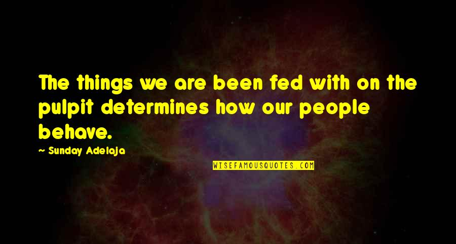 Behaviour Quotes By Sunday Adelaja: The things we are been fed with on