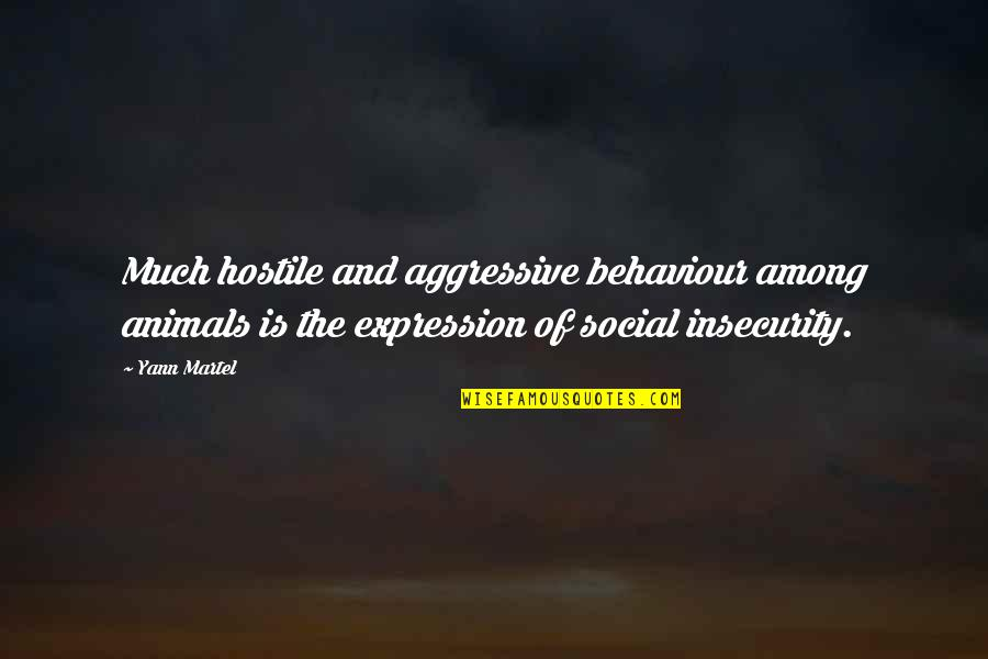 Behaviour Quotes By Yann Martel: Much hostile and aggressive behaviour among animals is