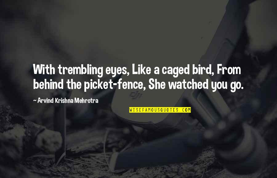 Behind My Eyes Quotes By Arvind Krishna Mehrotra: With trembling eyes, Like a caged bird, From