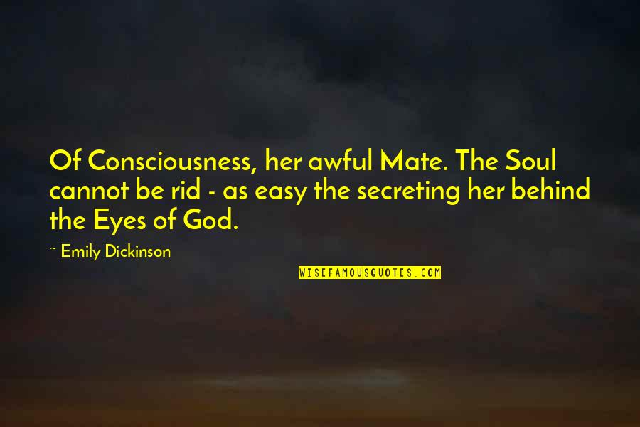 Behind My Eyes Quotes By Emily Dickinson: Of Consciousness, her awful Mate. The Soul cannot