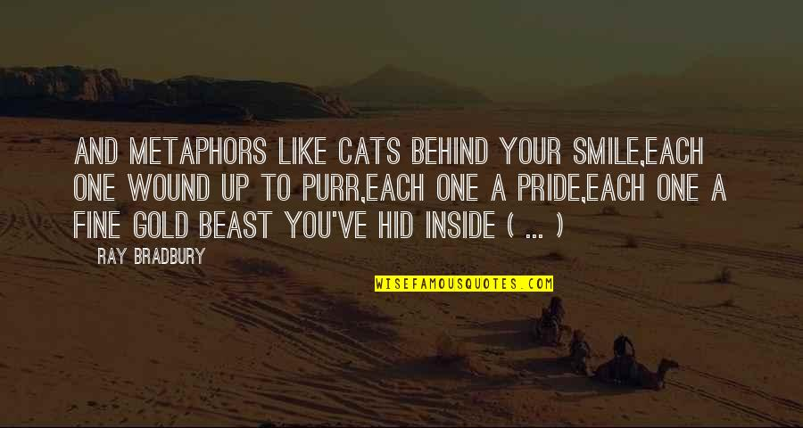 Behind Smile Quotes By Ray Bradbury: And metaphors like cats behind your smile,Each one