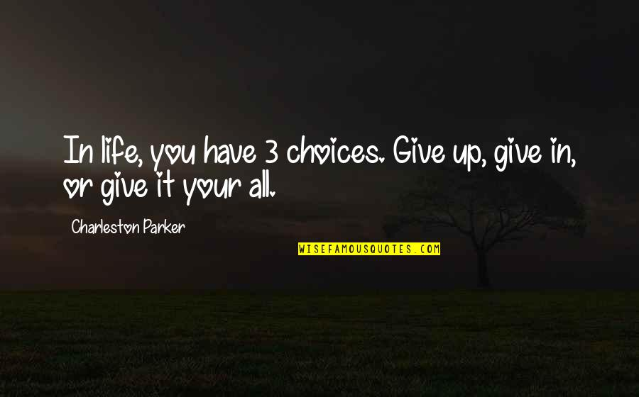 Being A Cougar Quotes By Charleston Parker: In life, you have 3 choices. Give up,