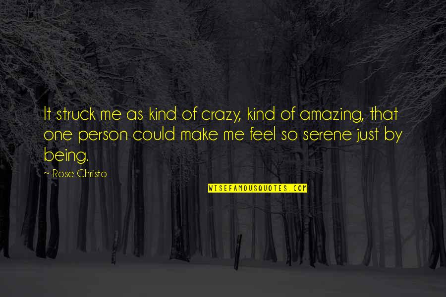 Being An Amazing Person Quotes By Rose Christo: It struck me as kind of crazy, kind