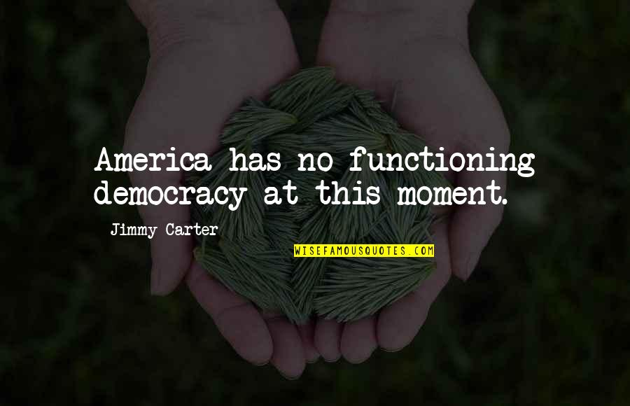 Being Brought Back To Life Quotes By Jimmy Carter: America has no functioning democracy at this moment.