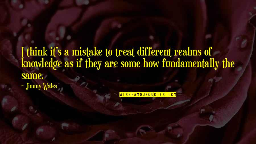 Being Childhood Friends Quotes By Jimmy Wales: I think it's a mistake to treat different
