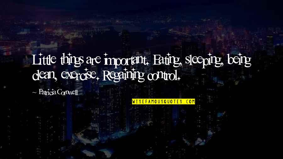 Being Clean Quotes By Patricia Cornwell: Little things are important. Eating, sleeping, being clean,