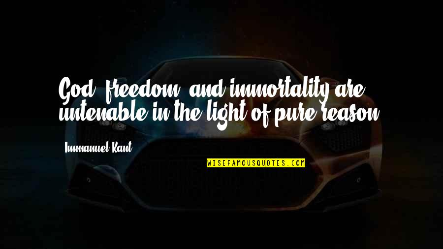 Being Clear Headed Quotes By Immanuel Kant: God, freedom, and immortality are untenable in the