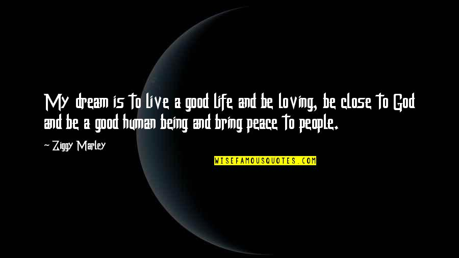 Being Close To God Quotes By Ziggy Marley: My dream is to live a good life
