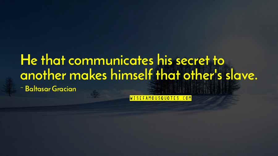 Being Cocksure Quotes By Baltasar Gracian: He that communicates his secret to another makes