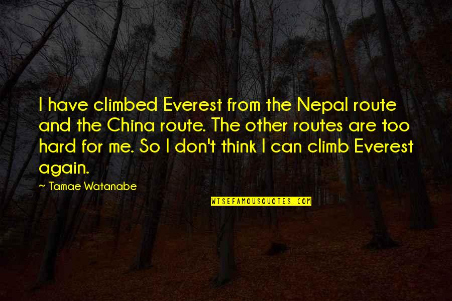 Being Disappointed In Others Quotes By Tamae Watanabe: I have climbed Everest from the Nepal route