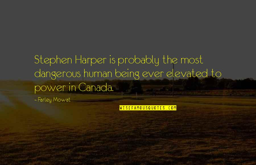 Being Elevated Quotes By Farley Mowat: Stephen Harper is probably the most dangerous human