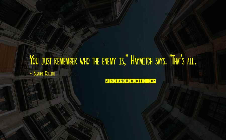 "Being Focused On The Future Quotes By Suzanne Collins: You just remember who the enemy is,"" Haymitch"