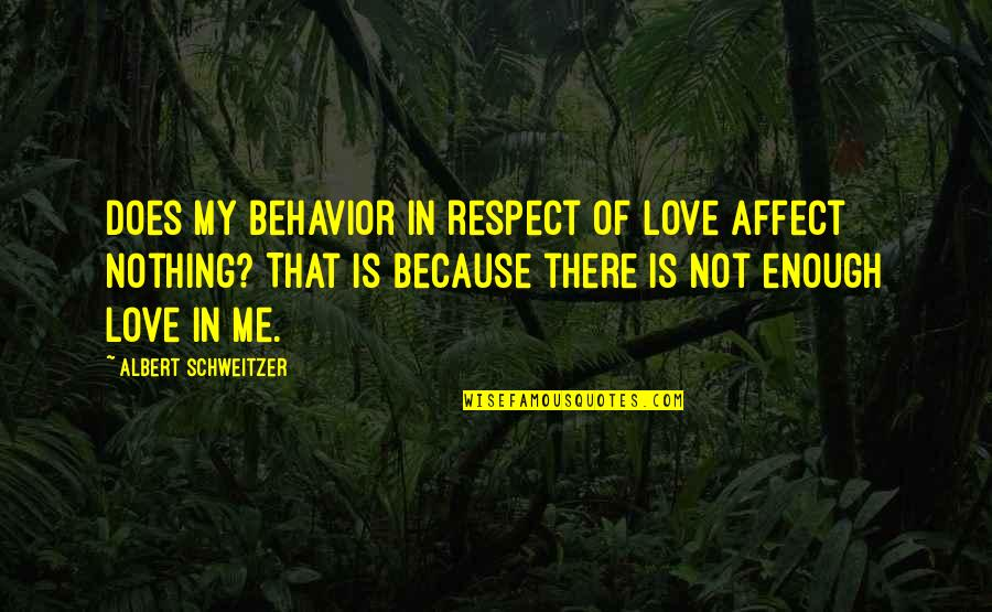Being Happy Just The Way You Are Quotes By Albert Schweitzer: Does my behavior in respect of love affect