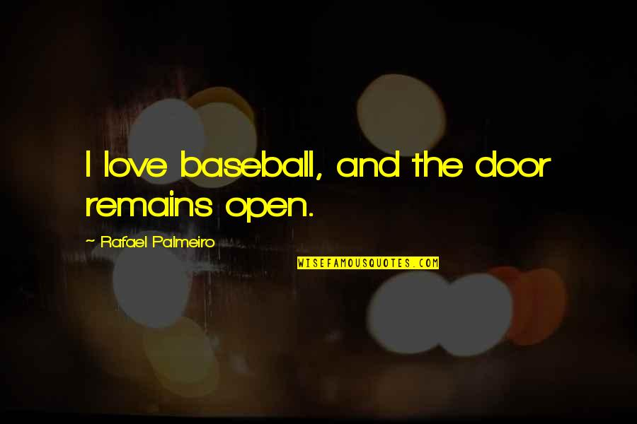 Being Happy Just The Way You Are Quotes By Rafael Palmeiro: I love baseball, and the door remains open.