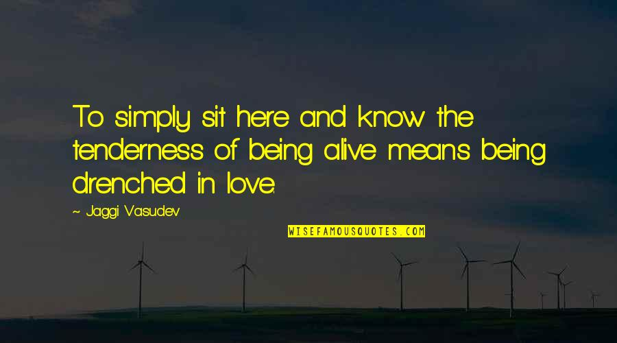 Being Here Now Quotes By Jaggi Vasudev: To simply sit here and know the tenderness