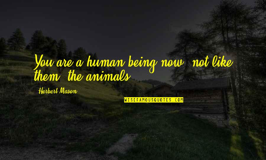 Being Human To Animals Quotes By Herbert Mason: You are a human being now, not like