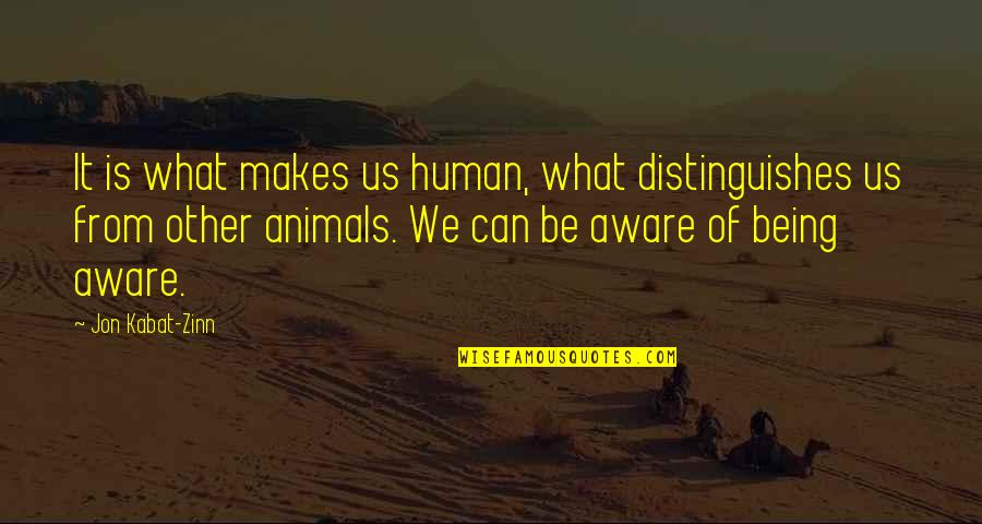 Being Human To Animals Quotes By Jon Kabat-Zinn: It is what makes us human, what distinguishes