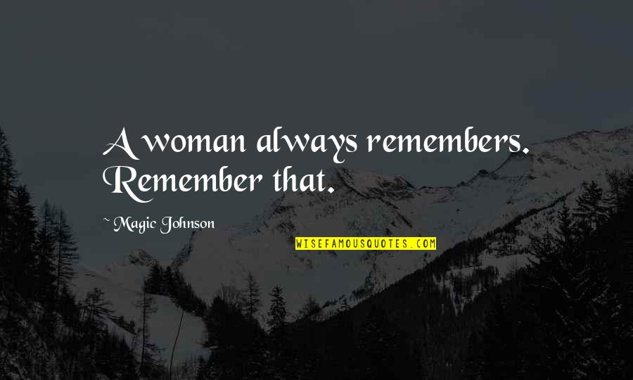 Being Poor Tumblr Quotes By Magic Johnson: A woman always remembers. Remember that.