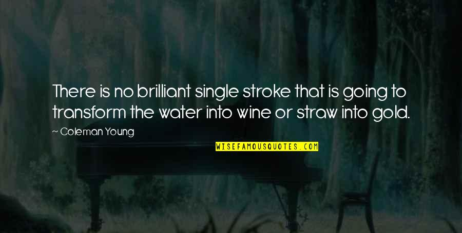 Being Prudent Quotes By Coleman Young: There is no brilliant single stroke that is