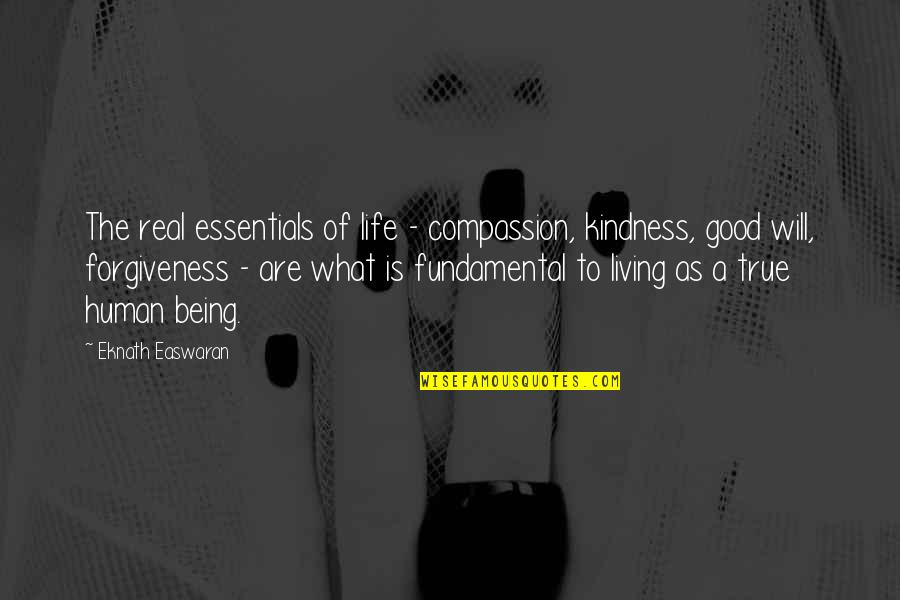 Being Real And True Quotes By Eknath Easwaran: The real essentials of life - compassion, kindness,