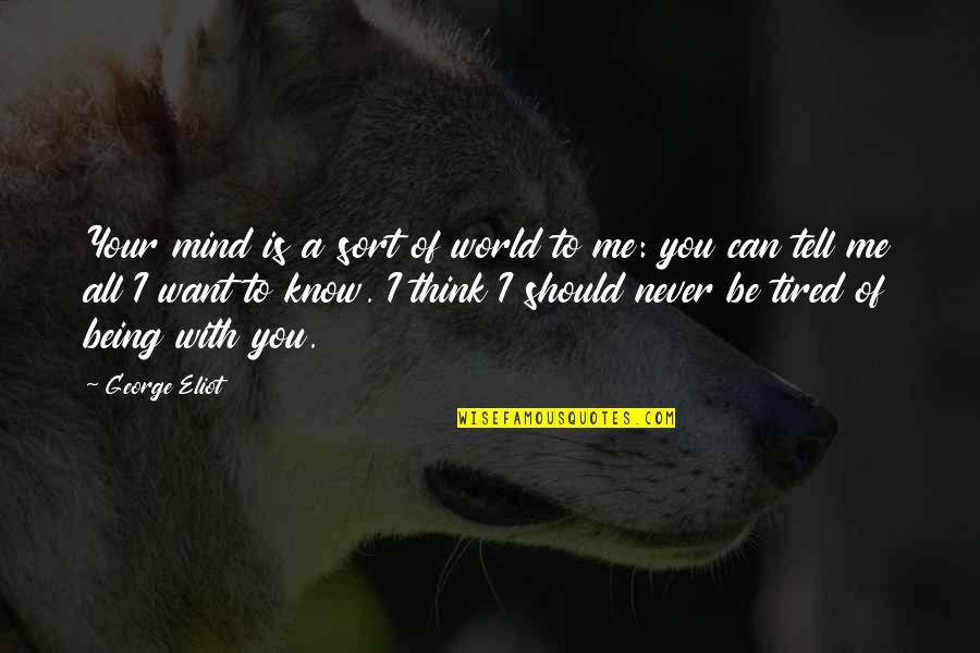 Being So Tired Quotes By George Eliot: Your mind is a sort of world to