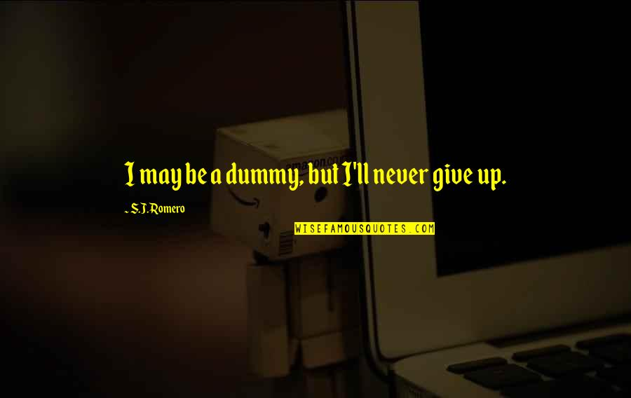 Being Stressed Out Tumblr Quotes By S.J. Romero: I may be a dummy, but I'll never