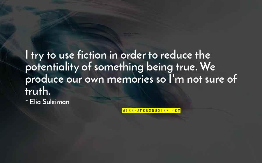 Being Sure Quotes By Elia Suleiman: I try to use fiction in order to