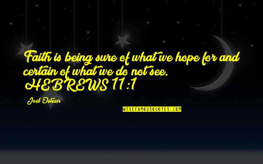 Being Sure Quotes By Joel Osteen: Faith is being sure of what we hope