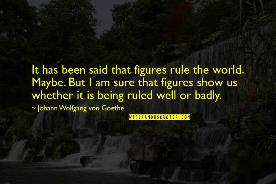 Being Sure Quotes By Johann Wolfgang Von Goethe: It has been said that figures rule the
