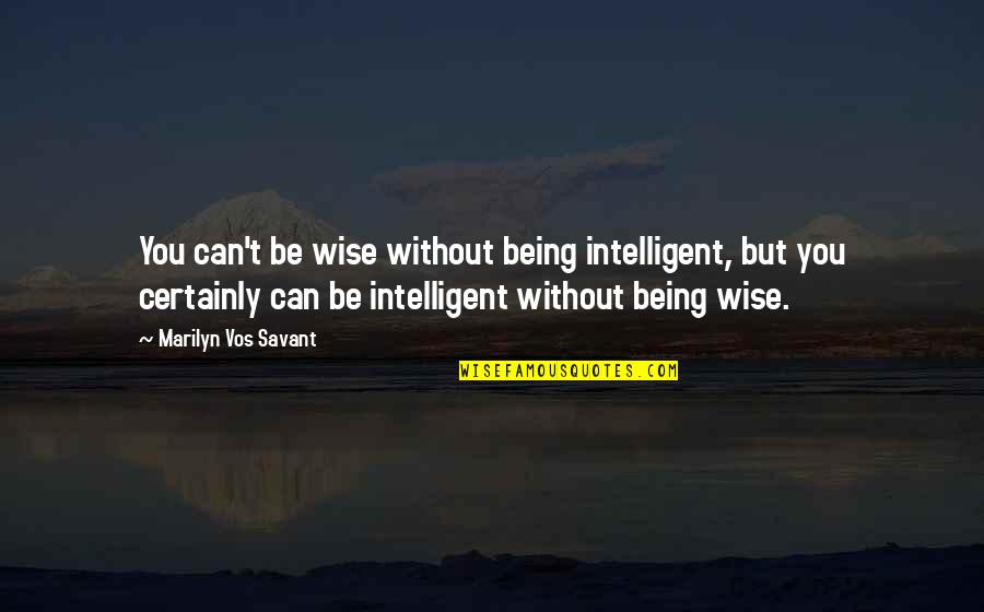 Being The Best We Can Be Quotes By Marilyn Vos Savant: You can't be wise without being intelligent, but