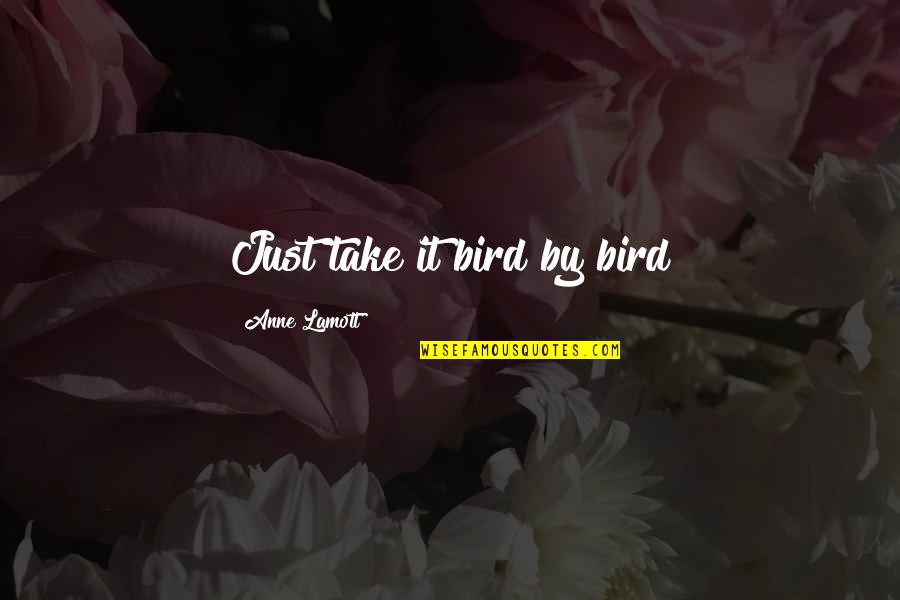 Being Thinner Quotes By Anne Lamott: Just take it bird by bird